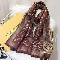 Louis Vuitton LV Women Wool Scarf Shawl Scarf Wine Red