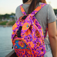 Backpack Tribal Painted Hipster Tribal Purse Woven Hobo Hippie Ethnic Rucksack Hipster Bags Hippie Purse Gypsy School Bag Summer Yoga