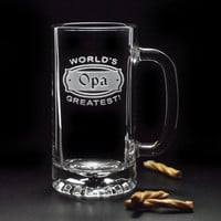 Opa Gifts  World's Greatest OPA BEER STEINS Mugs  by distinctglass