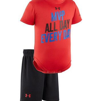 Under Armour® Red 'MVP All Day Every Day' Bodysuit & Shorts - Infant