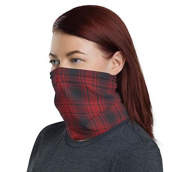 Red and Grey Plaid Neck Gaiter