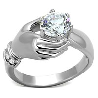 Hand Holding CZ  Stainless Steel Ring