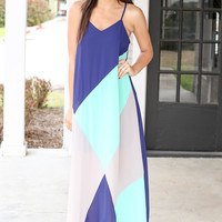Morning Glory Maxi Dress - Navy and Mint