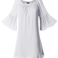 LE3NO Womens Loose 3/4 Bell Sleeve Fully Lined Peasant Tunic Top (CLEARANCE)