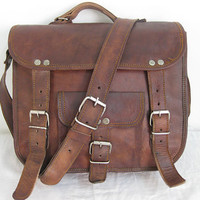 Pure Genuine 13 inches/Inch Handmade Soft Leather Mens Unisex Ipad/Messenger/Satchel Shoulder Handbags/Bags Pouch/Case For him or her
