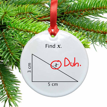 Math Find X Funny Christmas Tree Ornament