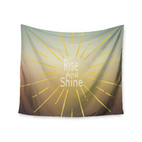 """Suzanne Carter """"Rise And Shine"""" White Yellow Wall Tapestry"""