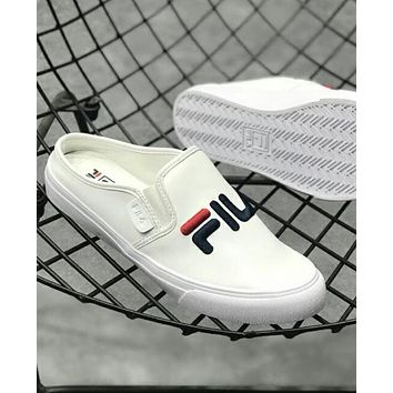 FILA Popular Women Men Casual Letter Embroidery Loafers Half Slipper Sandal Shoes White I-CSXY
