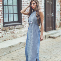 The Lilly Printed Maxi in Navy