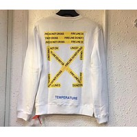OFF-WHITE warning cordon arrow yellow label white round neck sweater F-A-KSFZ white