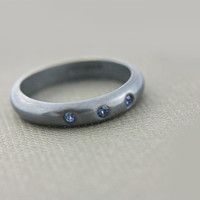 Oxidized Triple Blue Sapphire Silver Wedding Band 4mm Low Dome Sterling Silver Ring - Made in Your Size Wedding Ring Handcrafted Silversmith