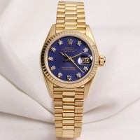Factory Rolex Lady DateJust 69178 18K Yellow Gold Blue Diamond Dial