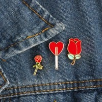 Cartoon Fashion Enamel Pin Mini Rose Flower Heart shape Brooches For Women Denim Jackets Collar Badge Metal Brooch Button Pins