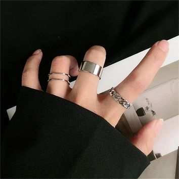 Punk Metal Geometric Round Ring Set Silver Color Open Rings for Women Fashion Finger Accessories Buckle Joint Tail Ring Jewelry