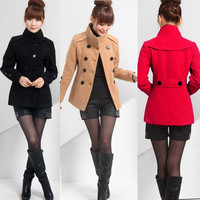 Fashion Long Woolen Long Sleeve Jacket Slim Coat Parka Trench Windbreaker = 1956246468