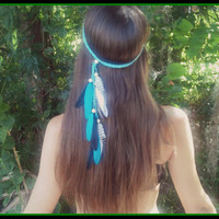 Feather, headband, Native, american,  indian,  pocahontas, bohemian,  braided , hippie, blue, turquoise, headdres, crown, gypsy, festival