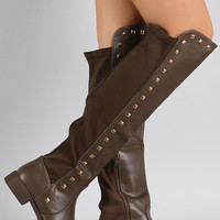 Liliana Pyramid Studded Riding Knee High Boots