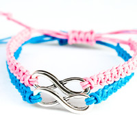 Pink and Blue Infinity Bracelets