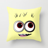 Happy Minion Throw Pillow by LookHUMAN