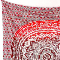 RED MANDALA FABRIC Hippie Psychedelic Wall Tapestry Bohemian Ombre Wall Hanging Hippy Boho Mandala Bed Bedspread Throw Bedding Ethnic Decor