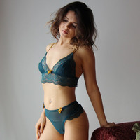 womens lingerie set in sheer mesh with lace trimmed bralette and lace trimmed tanga thong JESTER - made to order