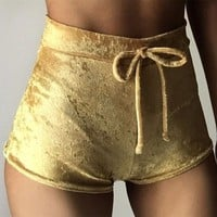 FREE SHIPPING Dear Deer Velvet Drawstring Shorts