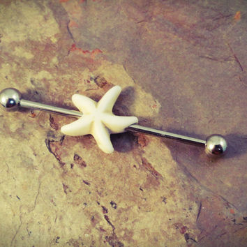 White Starfish Industrial Barbell Piercing Upper Ear Ring