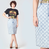 80s Acid Wash Quilted Denim Skirt / High Waist Tube Fitted Jean Midi Skirt / Light Blue Pencil Rocker Punk Medium M Skirt
