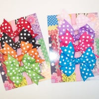 Poklka dot bows 3 for 5.00 baby 2.5 in New born pinwheel hair bow 16 polka dot colors infant hair bow baby  hair bow with non slip gripps