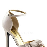 Champagne Bow Accent Peep Toe Heels Satin