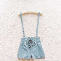 Retro double-breasted high waist denim overalls A 072402 -878