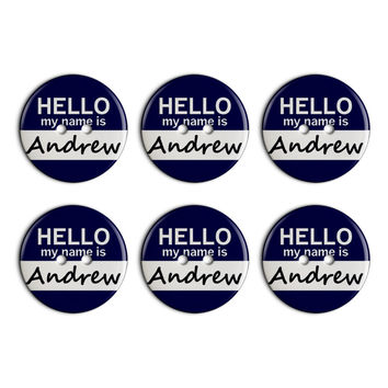 Andrew Hello My Name Is Plastic Resin Button Set of 6