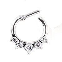 1 - Gemmed CZ Princess Septum Clicker 316L Surgical Stainless Steel Rings F62