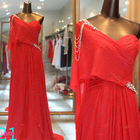 Red One Shoulder Evening Dress, Sexy Long Chiffon Dress, Red One Sleeve Prom Dress, Prom Dress Long, Elegant Chic Evening Dress, Prom Dress