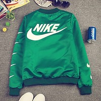 Nike tide card printed letters printed padded coat BF baseball jacket Green