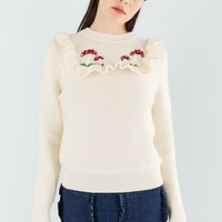 Pullover with hand embroidered mushrooms
