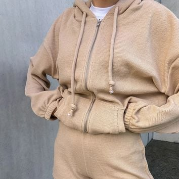 Explosive hot selling fashion all-match temperament zipper hooded sweater
