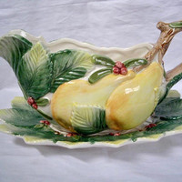 Vintage Fitz and Floyd Gravy Boat and Plate