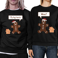 Christmas Gingerbread Couple Sweatshirts Holiday Matching Tops
