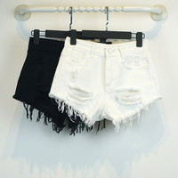 Summer Style Hole Punk Rock Fashion Middle Waisted Denim Shorts Vintage Ripped Short Jeans Sexy Womens Short Femme