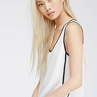 Contrast-Trimmed Chiffon Top
