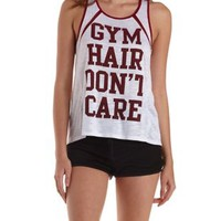 Gym Hair Don't Care Graphic Burnout Tank Top