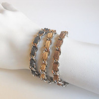 Triple woven bracelet - Blue, Brown and Beige suede cord weaved in a nickel chain