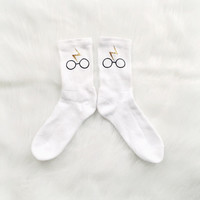 Harry Potter Printed Socks in Gold and Black