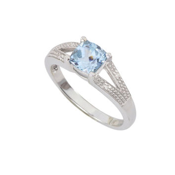 Sterling Silver .01ct Genuine Diamond Ring with 6mm Blue Topaz Split Shank