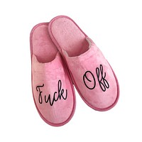 Pink Velour Fuck Off House Slippers in Pink