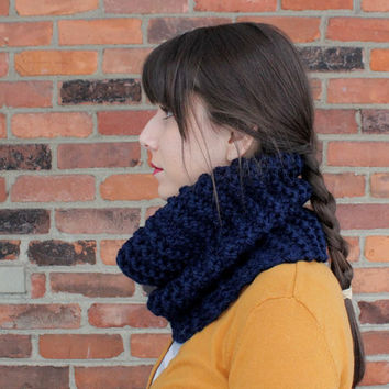 Chunky Knit Cowl Infinity Scarf in Navy Blue - Custom Order