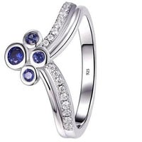 Blue Sapphire White AAA Cz 925 Sterling Silver Gemstone Ring Statement