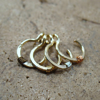 No Pierce Hoop Hammered & Wrapped Golds