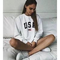 USA simple letter printing long sleeve cuffs loose sweater